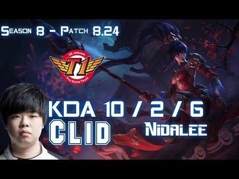 SKT T1 Clid NIDALEE vs LEE SIN Jungle - Patch 8.24 KR Ranked
