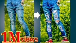 Bnaye Apne simple jeans ko Damage jeans use PicsArt