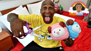 Cutting Open Tiana's Giant Squishy Toys Again   Toys Andme