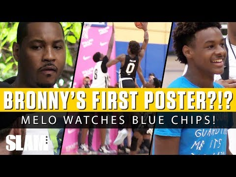Melo Watches Bronny James Catch First Poster Dunk?!? 🤯