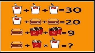 Mcdonalds math problem drink + drink+fry + burger facebook twitter riddle