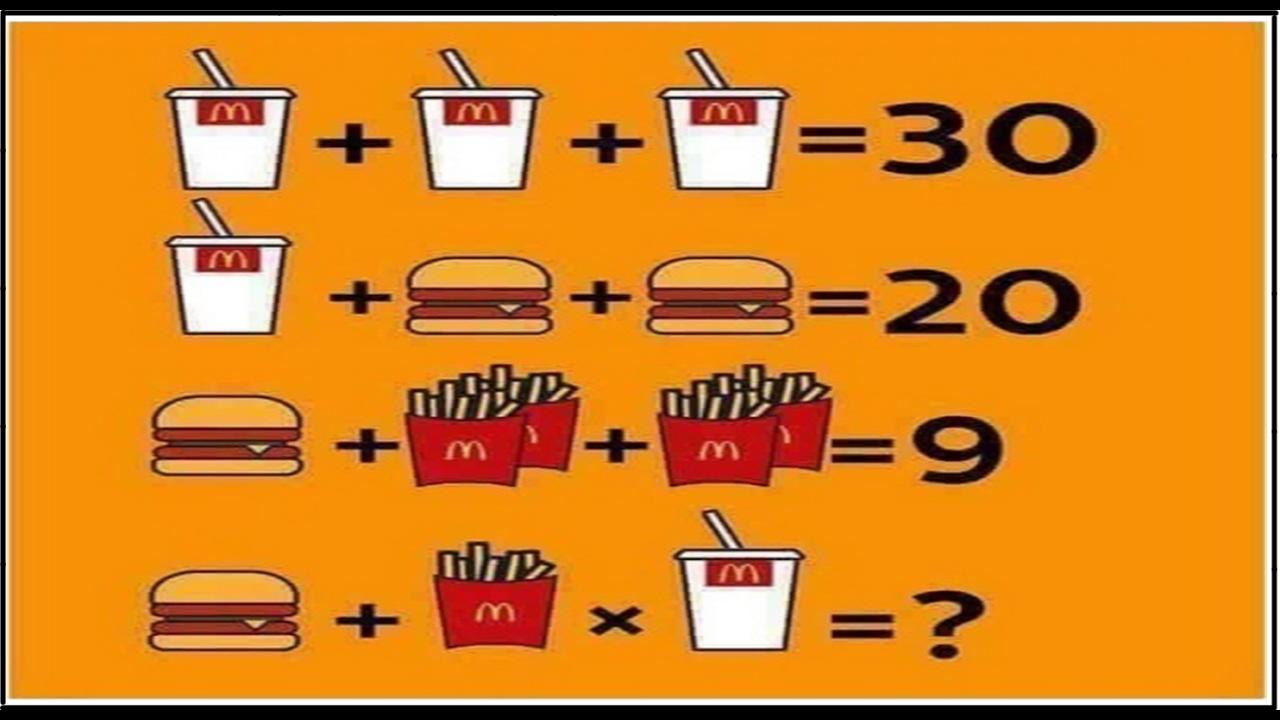 Mcdonalds Math Problem Drink Drinkfry Burger Facebook Twitter