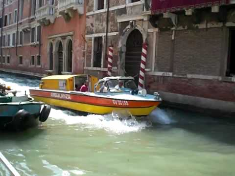 Emergency at the canal in Venice Italy