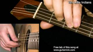 TEN LITTLE INDIANS: Fingerpicking Guitar Lesson + TAB by GuitarNick