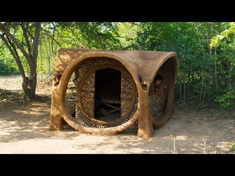 Build Beautiful Creative Mud House Style In the Forest | Building Skill