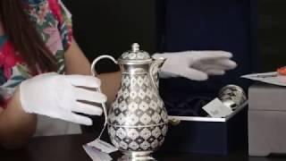 """Обзор изделия: Набор для воды кувшин и два стакана из серебра """"Родной дом""""www.apande.ru"""