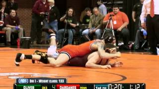 Jordan Oliver vs. Christopher Dardanes-133 Match-2012 NWCA/Cliff Keen National Duals