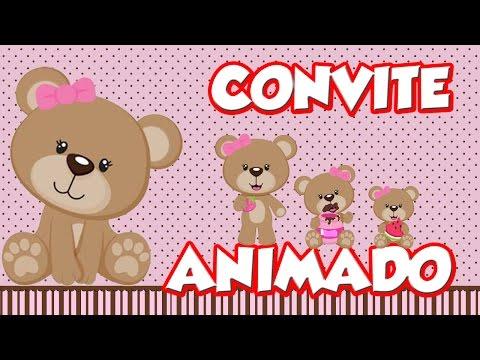 Convite Animado Ursinha Marrom