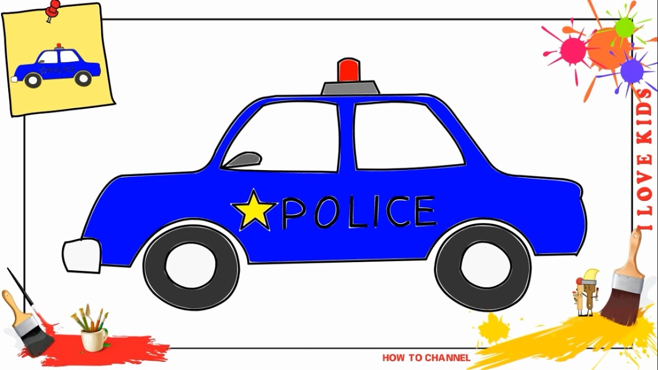 How To Draw A Police Car 2 Easy Slowly Step By Step For Kids Youtube