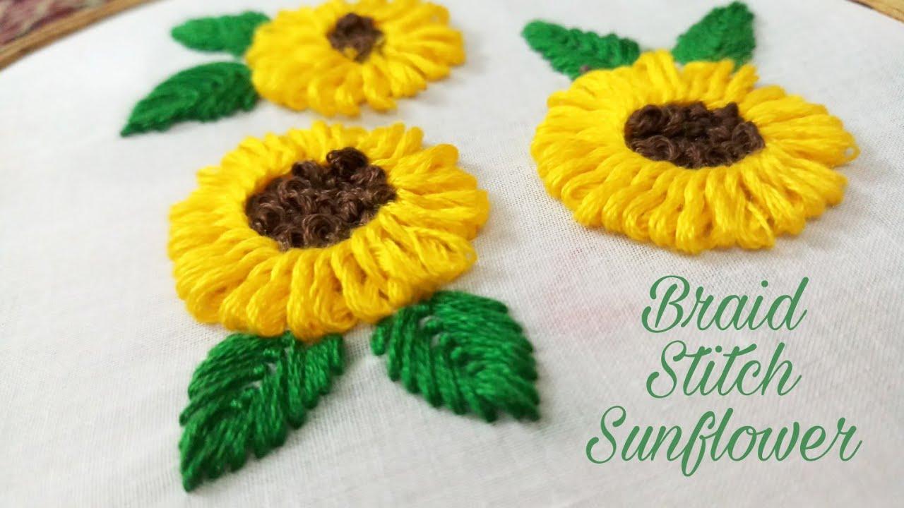 Braided Stitch Sunflower Hand Embroidery Work