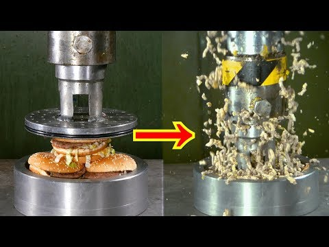 Pressing Hamburgers Through Small Holes with Hydraulic Press | in 4K