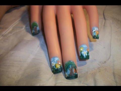 Paisaje en uñas a mano alzada (nail art) - YouTube