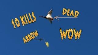 Bowhunting Flying Ducks. 4k Super Slo Mo, 10 Amazing Kills