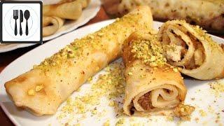Блины/Блинчики с орехами в щербете. Роллы из блинов с начинкой. Турецкий десерт.