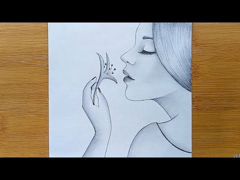 How to draw a Girl with Flowers // Pencil sketch drawing thumbnail