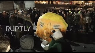 UK  Trump effigy beaten to pulp as protest against new US president rocks London