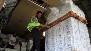 إيصال المساعدات الإنسانية جوا في سوريا