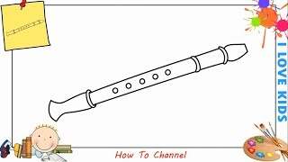 How to draw a flute EASY step by step for kids, beginners, children 3
