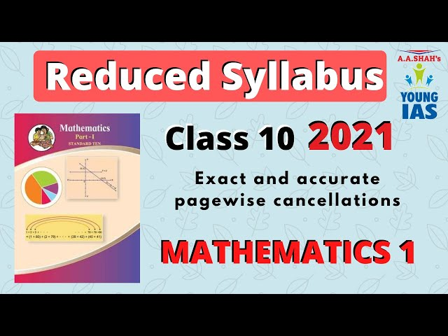 REDUCED SYLLABUS for SSC CLASS 10 MAHARASHTRA BOARD | MATHEMATICS 1 | 25% REDUCTION