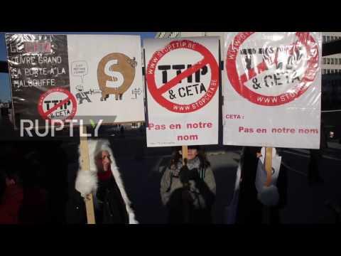Belgium: Dozens protest against CETA and TTIP trade deals in Brussels