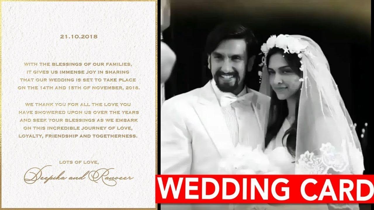 Deepika Ranveer Wedding Card Official 14 15th November Full