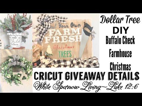 DIY BUFFALO CHECK DOLLAR TREE RUSTIC FARMHOUSE CHRISTMAS DECOR & CRICUT GIVEAWAY DETAILS