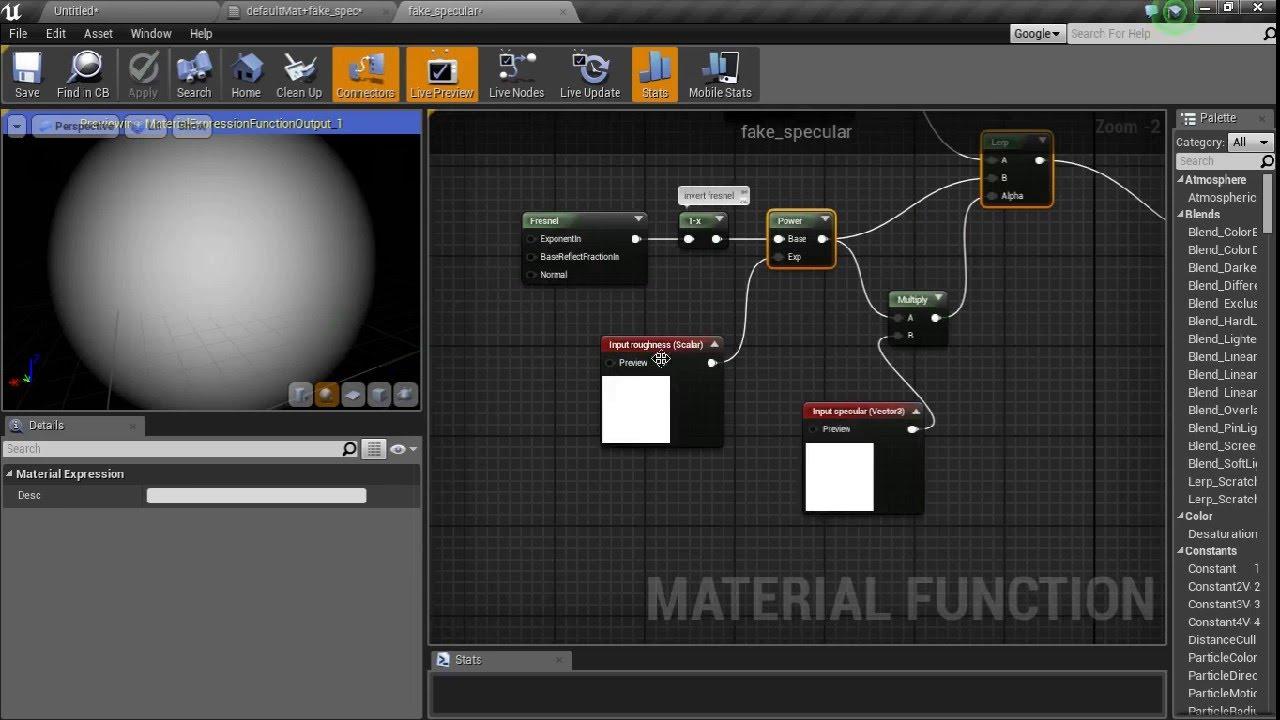 [UE4] Unreal Engine 4 Tutorial: Fake Specular For Baked Lighting