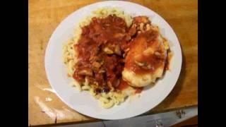 Cookin 41 - Chicken Breast n Pasta with Tomato Basil Sauce Aubergine Carrot Mushroom