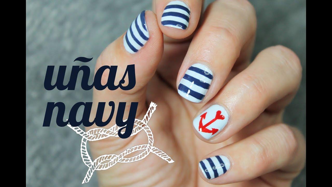 U as decoradas con ancla paso a paso estilo marinero - Unas faciles paso a paso ...