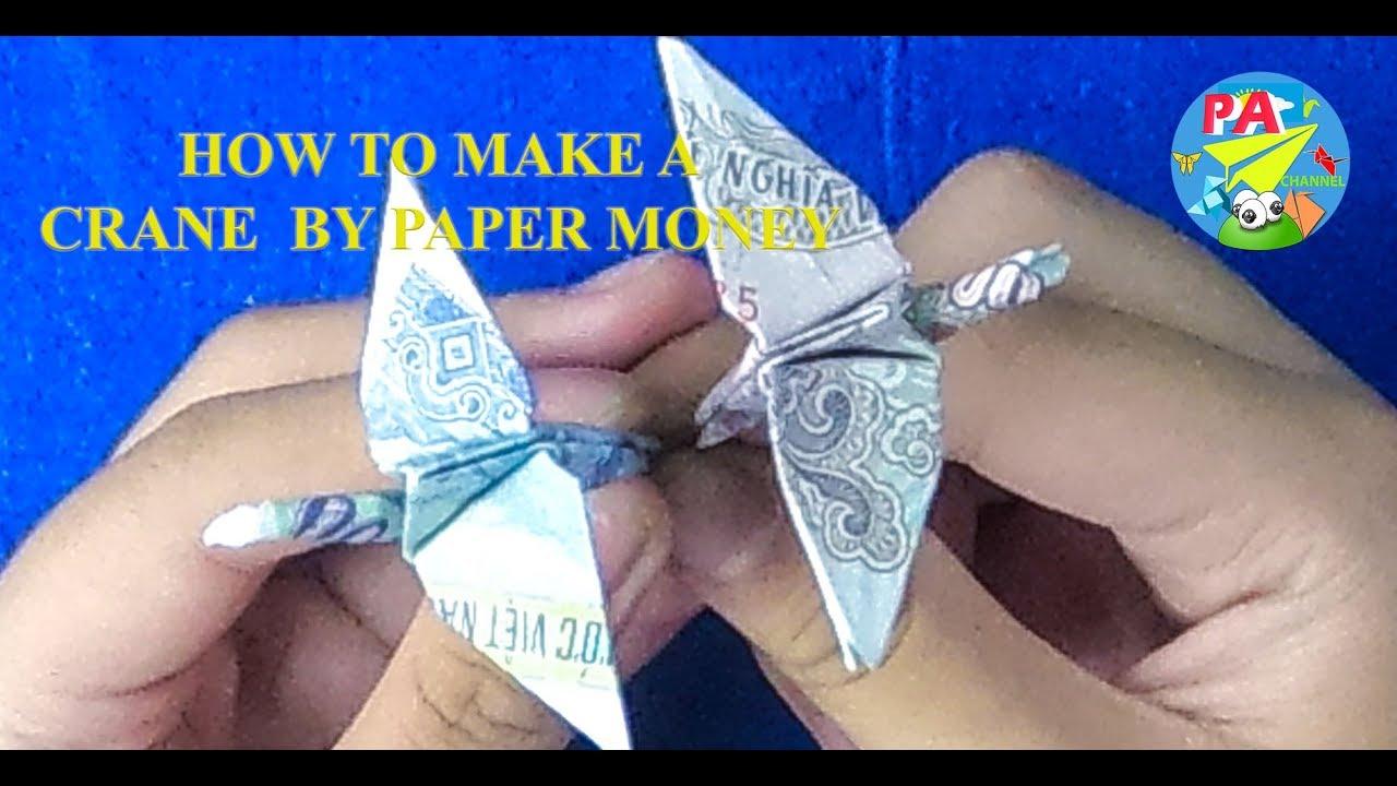 Money Origami|Hướng dẫn gấp  chim hạc chân dài bằng tiền giấy