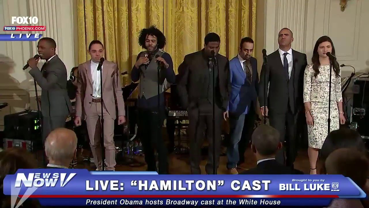 "fnn: president obama welcomes ""hamilton"" cast from broadway to"