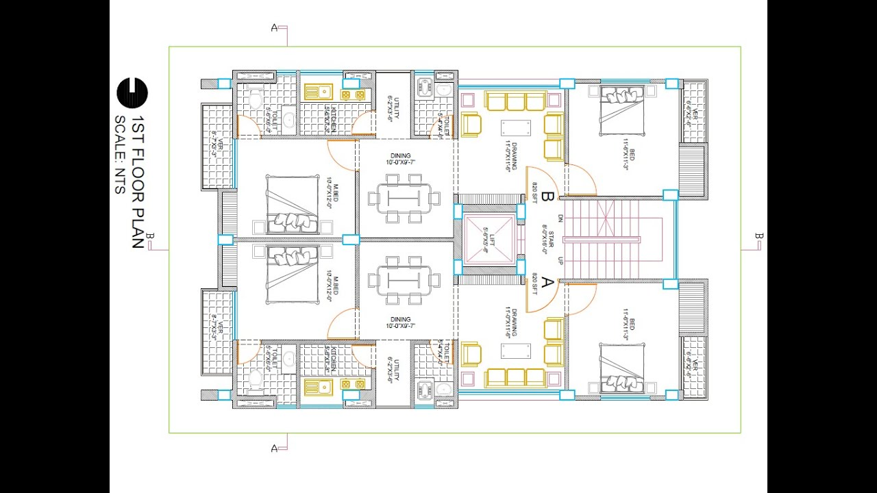 Simple house plans in autocad front design for Cad blueprints