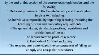 Section 2: The Private Security and Investigative Services Act and Ministry Code of Conduct