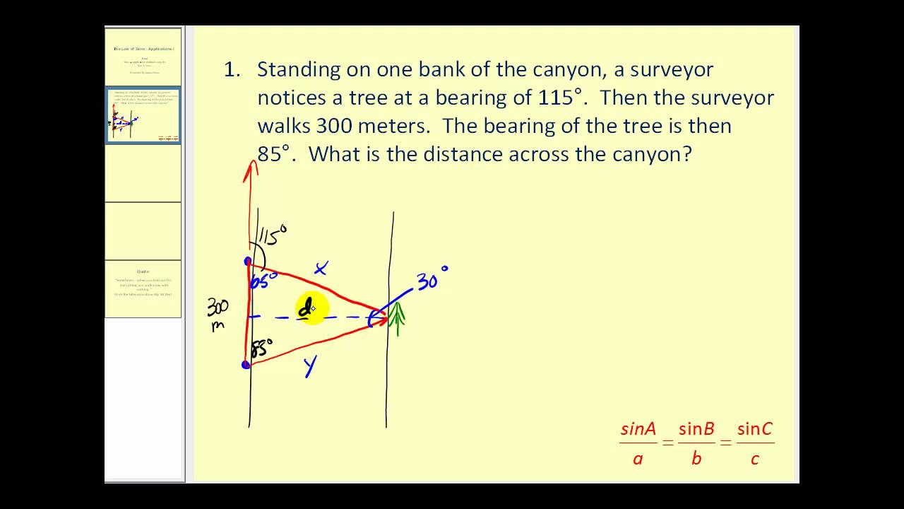 The Law Of Sines Applications I Youtube