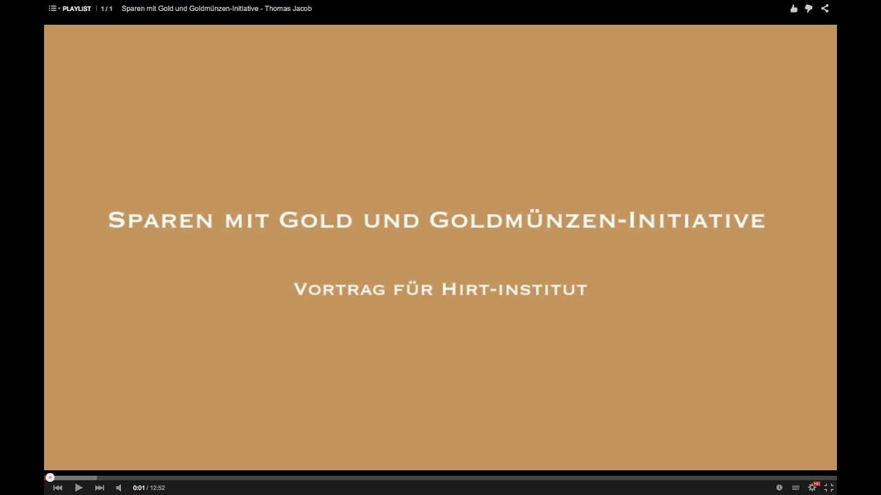 Sparen mit Gold und Goldmünzen-Initiative - Thomas Jacob