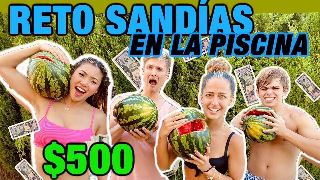 $500 al que APLASTE SU SANDIA EN LA ALBERCA *Piscina* con Ariann Music y Cesar de TikTok