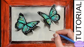 How to paint 3D Butterfly. Blue Butterflies Acrylic Painting Tutorial Step by Step