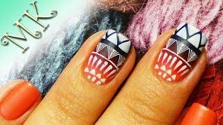 Матовый дизайн ногтей/Стемпинг/Градиент/Дизайн ногтей/Мастер класс/Этнический дизайн ногтей/DIY