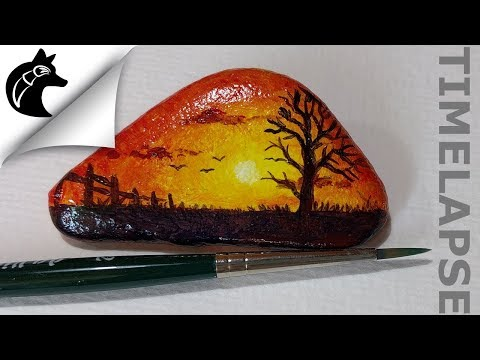How To Paint A Sunset On A Rock Rockpainting [TIMELAPSE]
