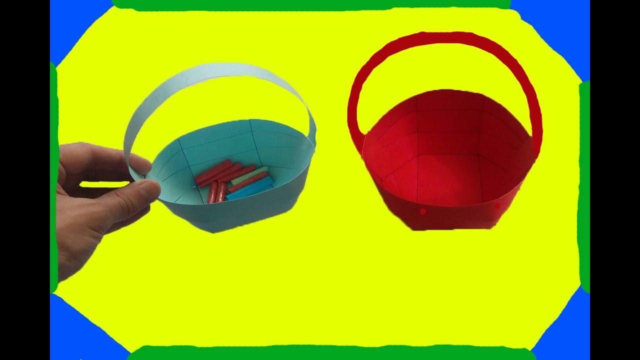 Kağıttan Sepet Yapımı Origami Sepet Yapımı Youtube
