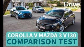 Toyota Corolla v Hyundai i30 v Mazda 3 Comparison Test | Drive.com.au