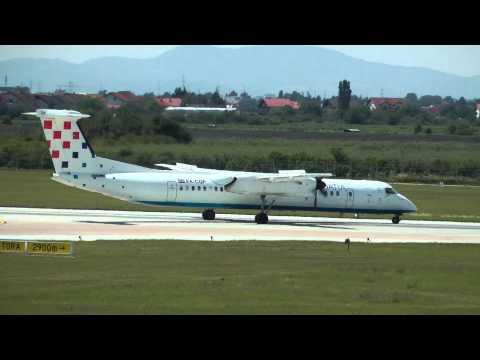 Croatia Airlines Bombardier Dash 8 taxi & takeoff Zagreb airport (ZAG/LDZA) HD