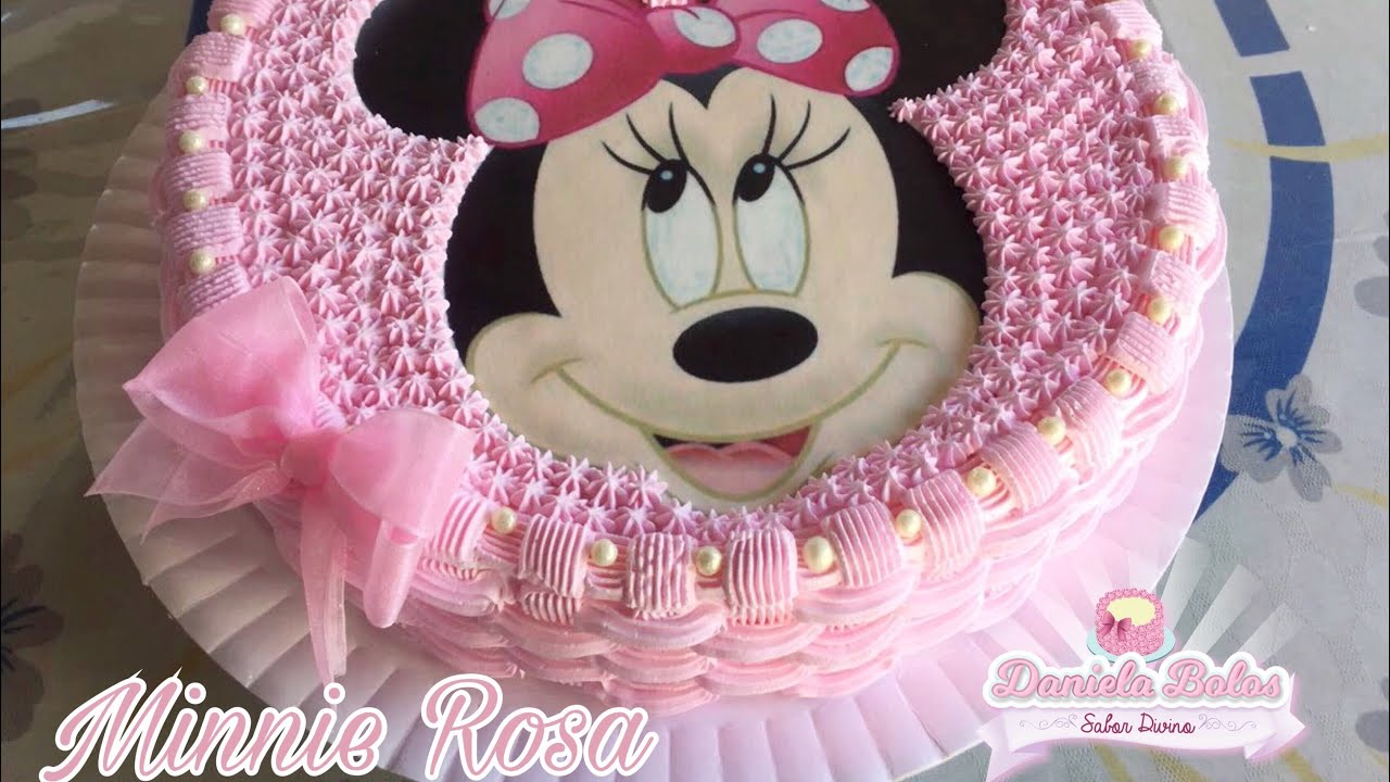 Confeitando Bolo Tema Minnie Rosa Youtube