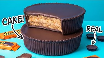 GIANT Reese Cups Cake from Peanut Butter Batter and Chocolate Ganache | How To Cake It
