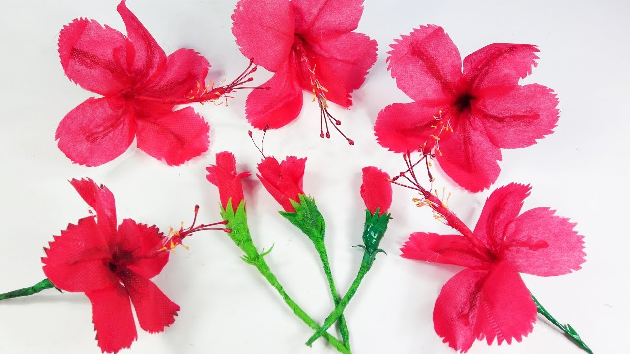 How To Make Hibiscus Flower With Shopping Bags Hibiscus Flower