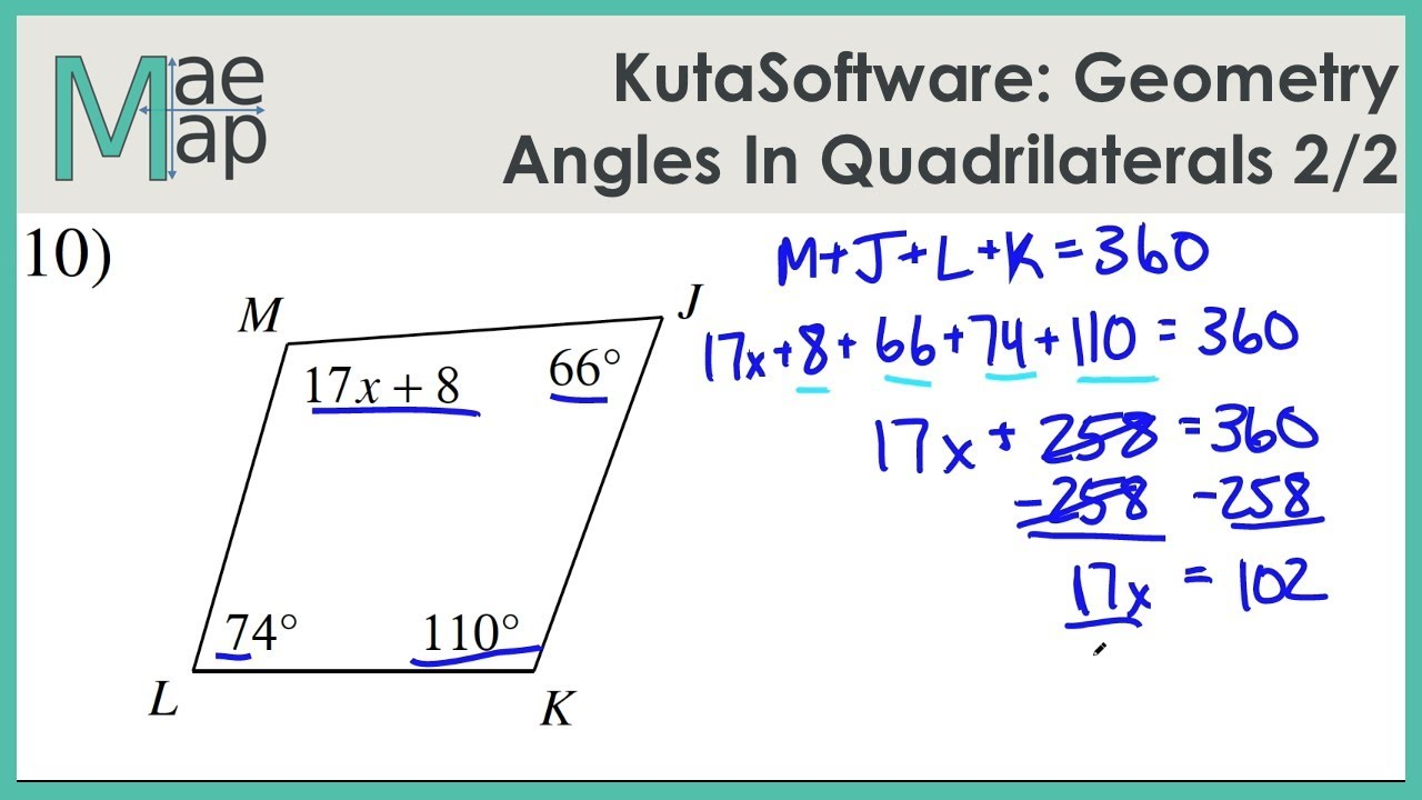 KutaSoftware: Geometry- Angles In Quadrilaterals Part 2