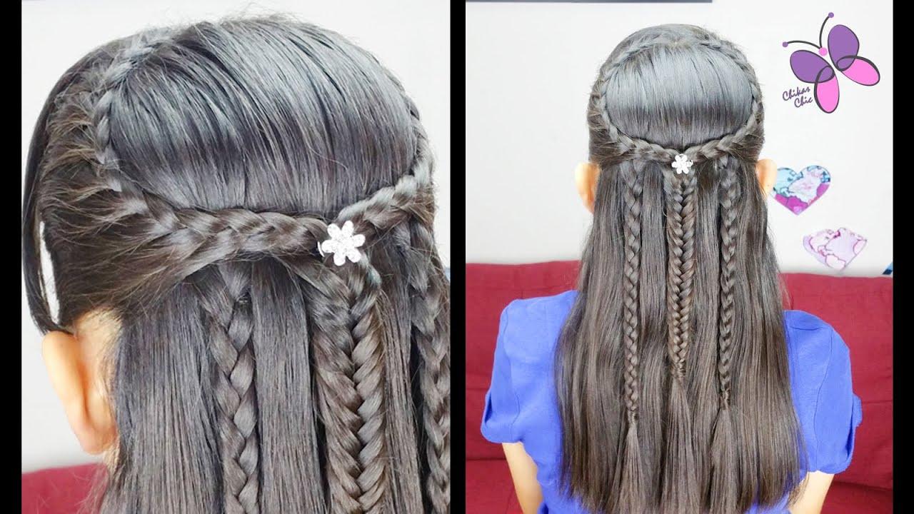 Peinado para cabello largo con trenzas braided hairstyle - Trenzas peinados faciles ...