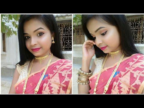 সরস্বতী পুজার লুক(বাংলা) || Saraswati Puja Traditional Makeup Look 2019 || beauty tips jui