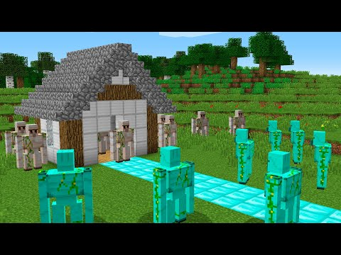 DIAMOND GOLEMS ATTACK HOUSE IRON GOLEM NOOB VS PRO BATTLE
