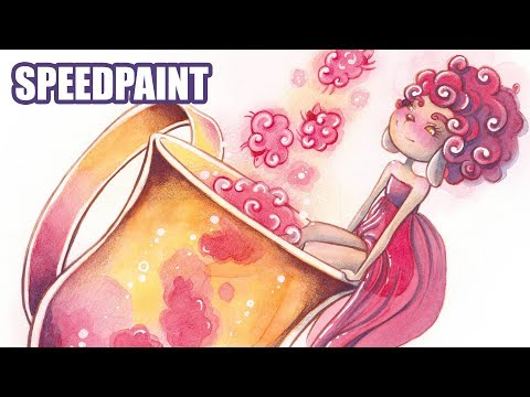 Sheep in a Cup - Watercolor Illustration Speedpaint and Commentary